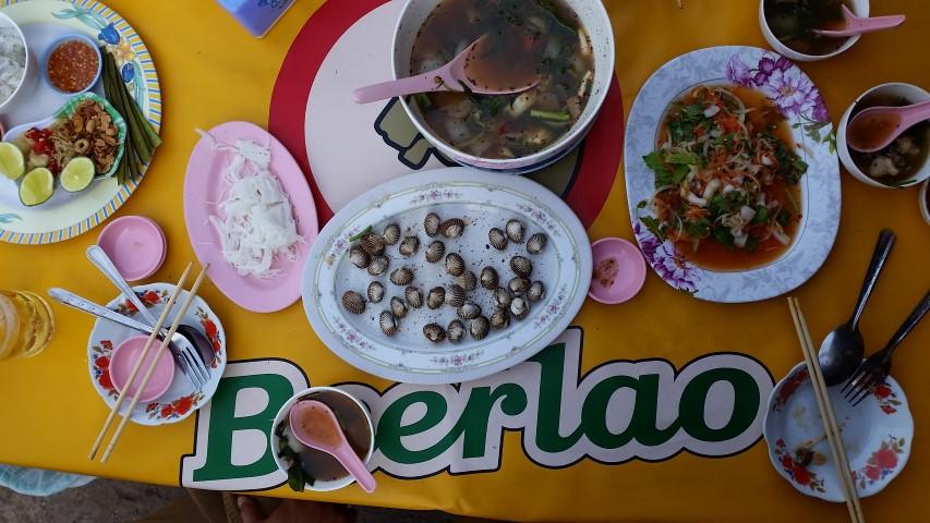 Laos food, many plates