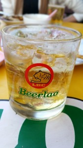 Beerlao in glass with ice