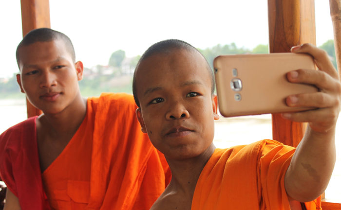 Novice monks trip in Luang Prabang Laos